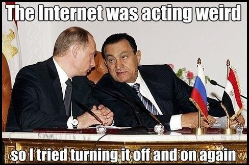 Mubarak shutting down the Internet